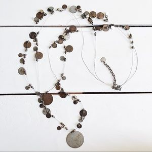 Jewelry - Long Bohemian Coin Disk Statement Necklace Brass